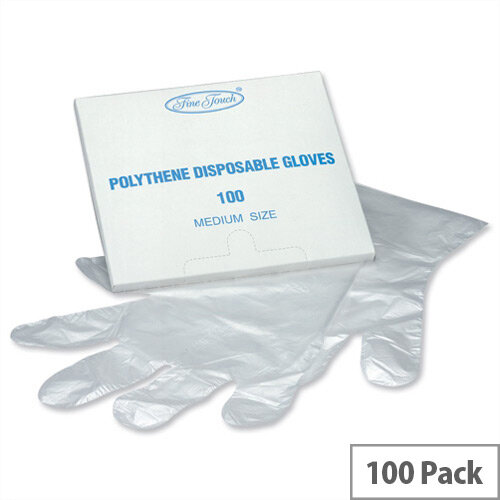 Disposable Clear Gloves Polythene Medium Size Pack 100 P00969
