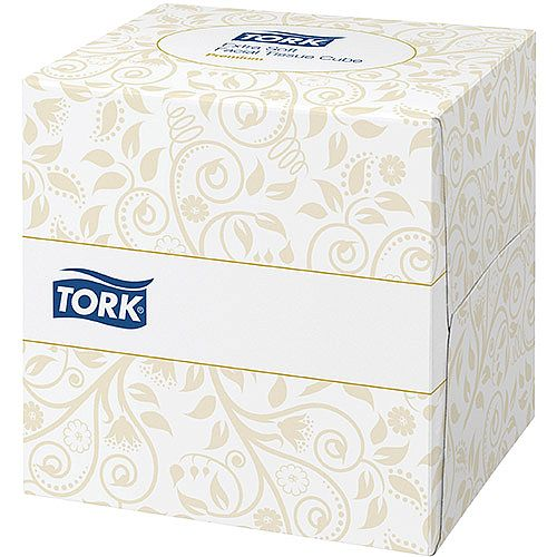 Tork Facial Tissues Cube Box 2 ply 100 Sheets White Pack of 30 Ref 140278