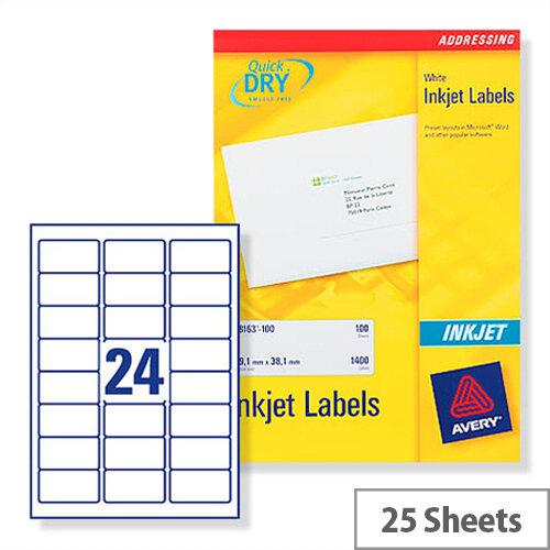 Avery White Quickdry Inkjet  24 Per Sheet (Pack of 600)