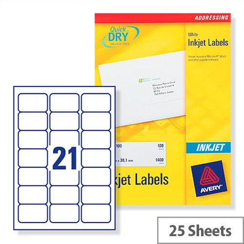Avery White Quickdry Inkjet 21 Per Sheet Pack Of 525 Buy Online At