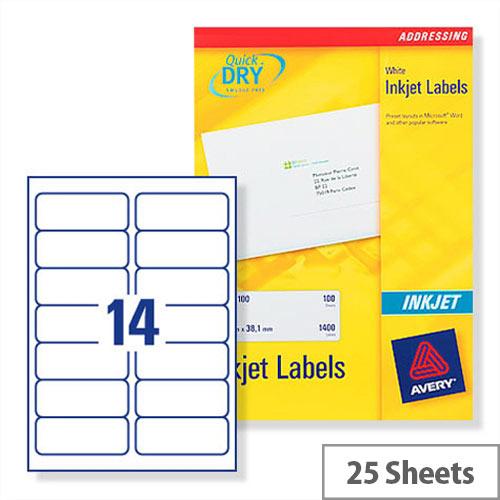 Avery White Quickdry Inkjet 14 Per Sheet (Pack of 350)