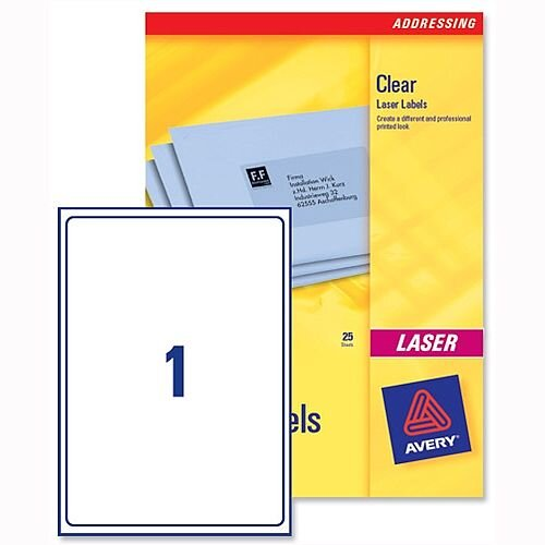 Avery 1 per Sheet Clear Laser Label A4 (Pack of 25)
