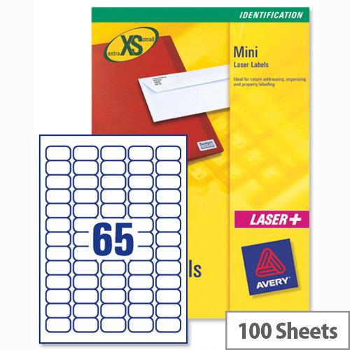 Avery J8651-100 Mini Labels Inkjet 65 per Sheet 38.1 x 21.2mm White 6500 Labels