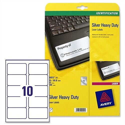 Avery L6012-20 Silver Heavy Duty Labels Laser 99.1x57.0mm 200 Labels