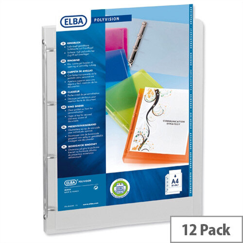 Elba Polyvision A4 Ring Binder 4 Ring 25mm Clear M263034-17 Pack 12