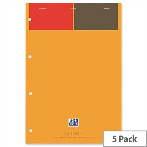 Oxford 001 International Orange and Grey A4+ Notepad 160 Pages Pack 5