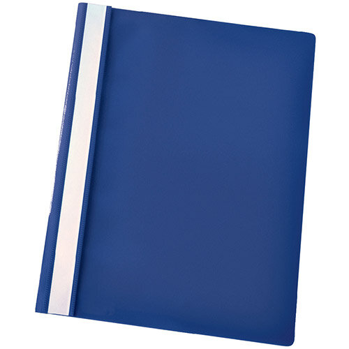 Esselte A4 Dark Blue Report Flat File Lightweight Plastic Clear Front Pack 25
