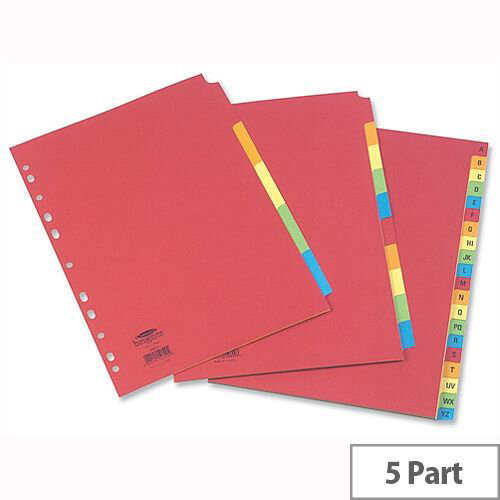 Concord 5 Part Extra Wide A4 Subject Dividers Bright Assorted
