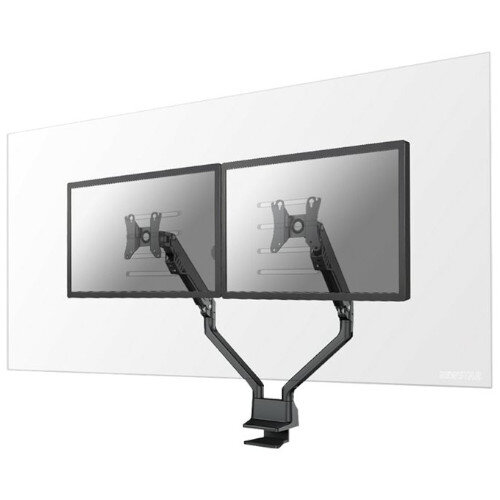 "Newstar Safety Screens for 2 Monitors - Acrylic, Transparent, Desk Mount for Two Monitors up to 27"" - 100x100mm VESA Mount - Mounting Component"