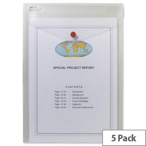 Snopake Polyfile P A4 Wallet File Portrait Clear Pack 5