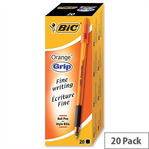 Bic Orange Grip Ballpoint Pen Black Pack 20