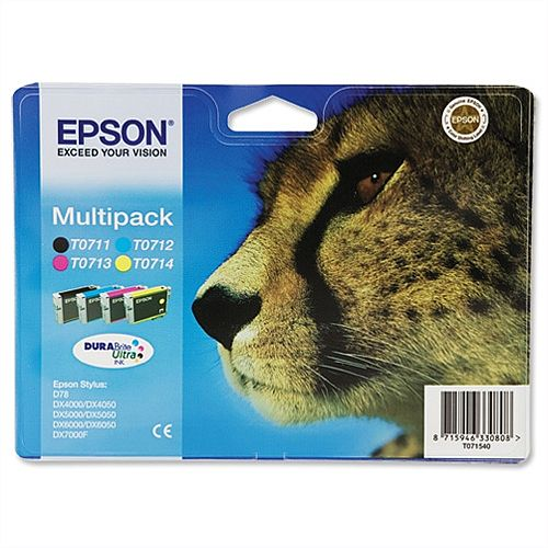 Epson T0715 4-Colour Ink Cartridges Multipack C13T07154010 C13T07154012
