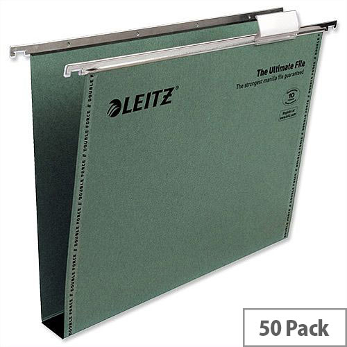 Leitz Ultimate A4 Suspension File Recycled with Tabs Inserts 30mm Green 17430055 Pack 50