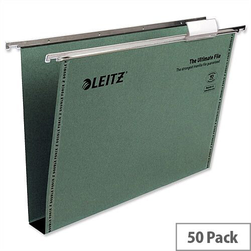 Leitz Foolscap Suspension File Green Recycled Pack 50