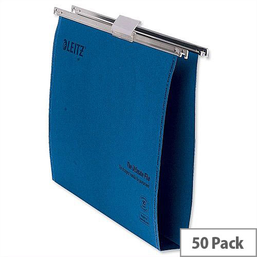 Leitz Foolscap Suspension File Blue Recycled Pack 50