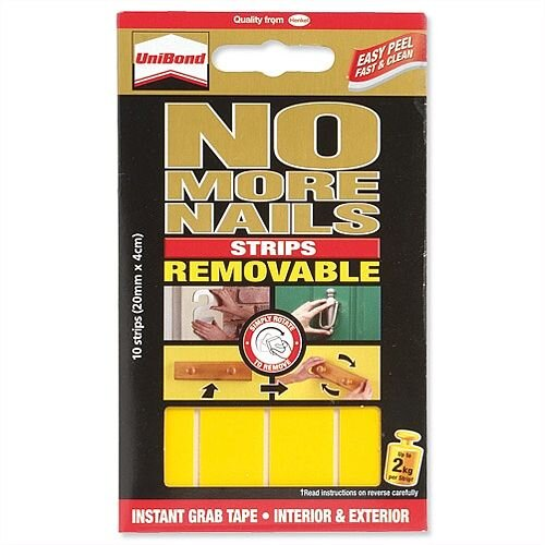 Unibond No More Nails Removable Strip Ultra Strong Translucent Pack 10