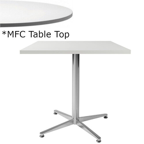Frovi PITCH Square Canteen Table With Chrome Base &MFC Top W600xD600xH730mm - Minimalist Design MFC Melamine Surface