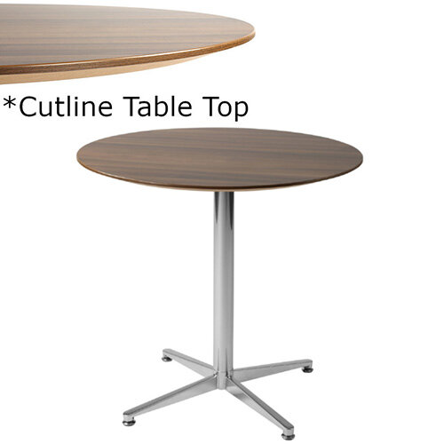 Frovi PITCH Round Canteen Table With Chrome Base &Cutline Top Dia800xH730mm - Thin-Cut Appearance Laminated Surface For Heavy-Use Areas