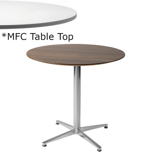Frovi PITCH Round Canteen Table With Chrome Base &MFC Top Dia800xH730mm - Minimalist Design MFC Melamine Surface