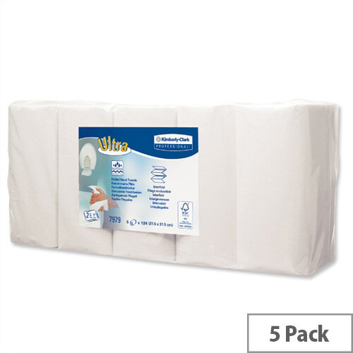 Kleenex Ultra Hand 2ply Kitchen Paper Towel Rolls 124 Sheets per Roll White (Pack of 5) 7979
