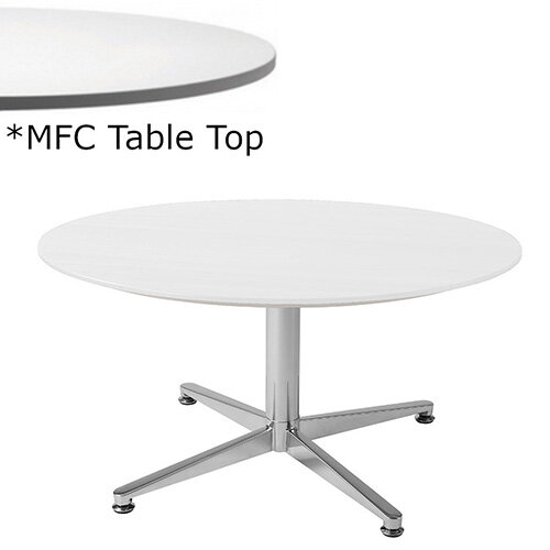 Frovi PITCH Round Coffee Table With Chrome Base &MFC Top Dia900xH420mm - Minimalist Design MFC Melamine Surface