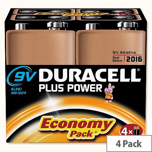Duracell Plus Power 9V Alkaline Battery (4 Pack) 81275463