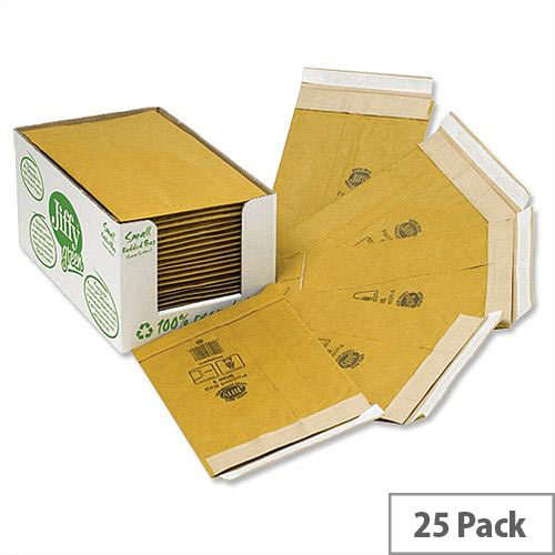 Jiffy Green Padded Bags Size 5 with Kraft Outer and Recycled Paper Cushioning Envelopes 245x381mm Pack of 25