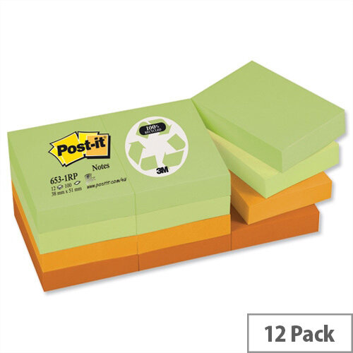 Post-it Notes Recycled Pad 38x51mm of 100 Sheets Pastel Pack 12