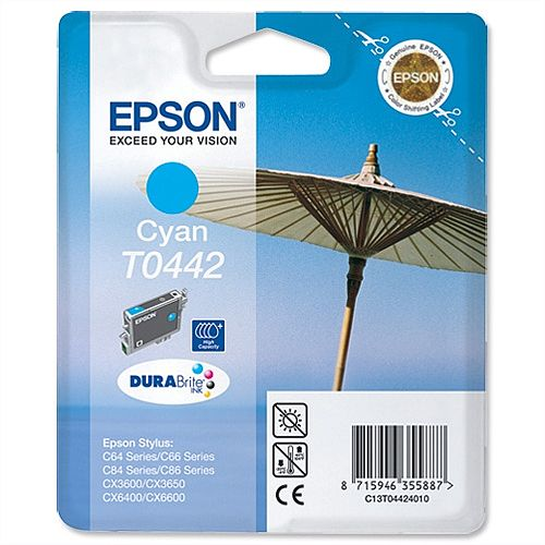 Epson T0442 Cyan Ink Cartridge Parasol Series T04424010