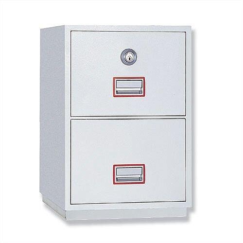 Filing Cabinet Fire Proof 2 Lockable Drawers 145 Kg Phoenix Firefile