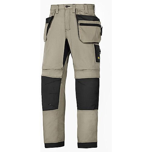 "Snickers 6206 LiteWork 37.5 Trousers Plus Holster Pockets Khaki - Black W44"" L30"" Size 120 WW1"