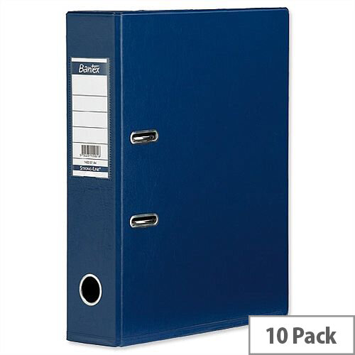 Elba Lever Arch File PVC 70mm Spine A4 Blue Pack of 10