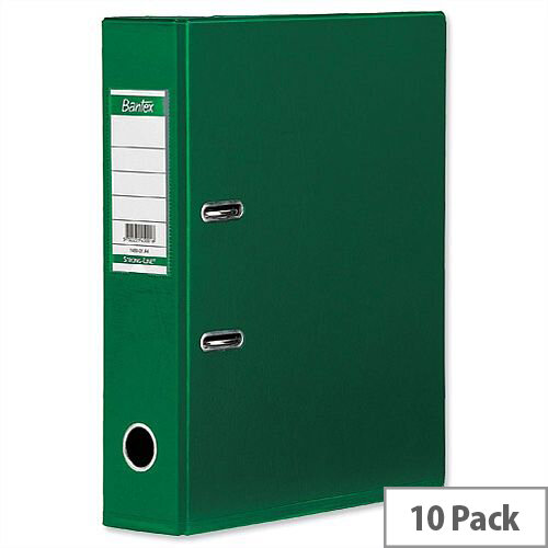 Elba Lever Arch File PVC 70mm Spine A4 Green Pack of 10