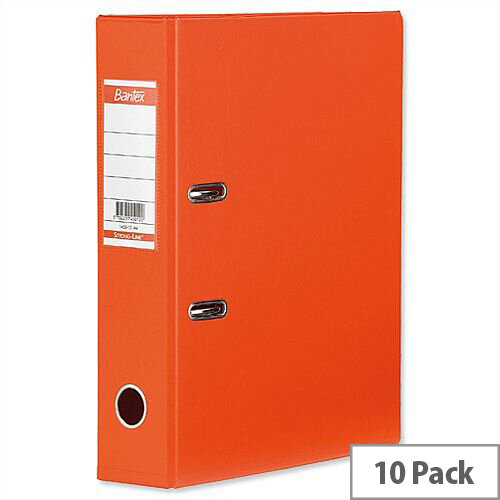 Elba Lever Arch File PVC 70mm Spine A4 Orange Pack of 10