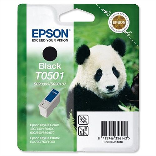 Epson T0501 Inkjet High Capacity Black Cartridge Panda 13T05014010/625296