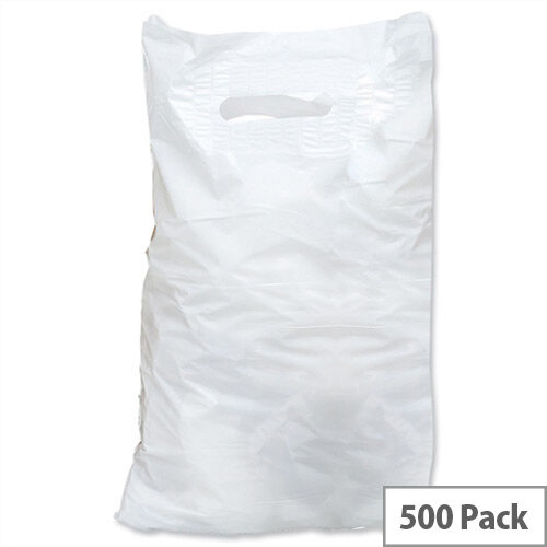 Carrier Bags Polythene Patch Handle 30 microns 381x457x76mm White CB-SPIC01-A Pack 500