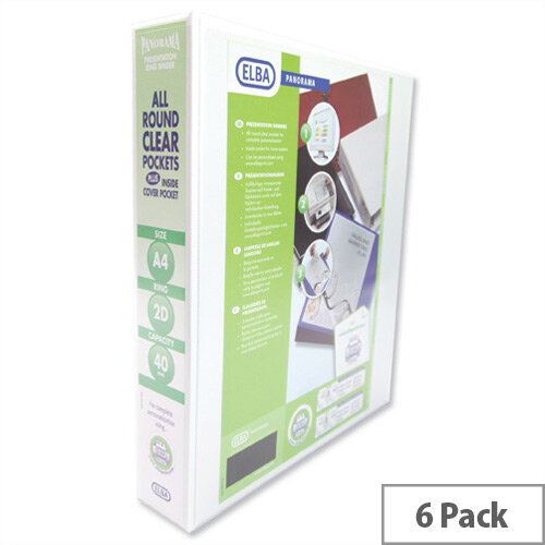 Elba Presentation A4 Ring Binder 40mm Capacity White 2 D-Ring 560315 Pack 6