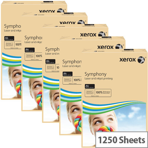Xerox Symphony Pastel Salmon A4 Paper 160gsm Pack of 1250