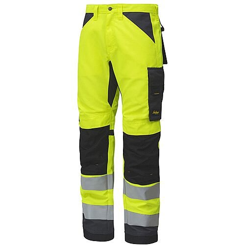 "Snickers 6331 AllroundWork High-Vis Work Trousers CL2 Hi Vis Yellow - Steel Grey W33"" L32"" Size 48 WW1"