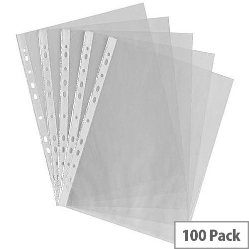HuntOffice A4 Punched Pockets 60 Micron Clear Pack of 100