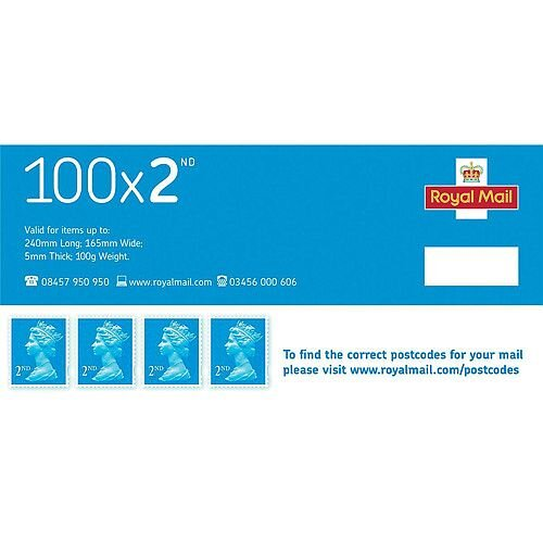 Royal Mail Second Class Stamps [Pack of 100]