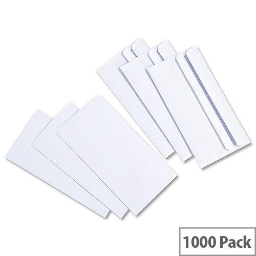 White Box DL Envelopes Wallet White 80g/m² Press Seal (Pack of 1000)