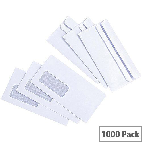 5 Star Value White DL Window Envelopes Self Seal Wallet 80gsm Pack of 1000