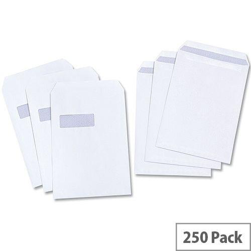 White Box Envelope Pocket Press Seal Window 100gsm White C4 (Pack of 250)