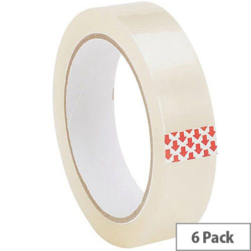 Uno CLEAR TAPE 25MMX66M POLYPROP [Pack 6]