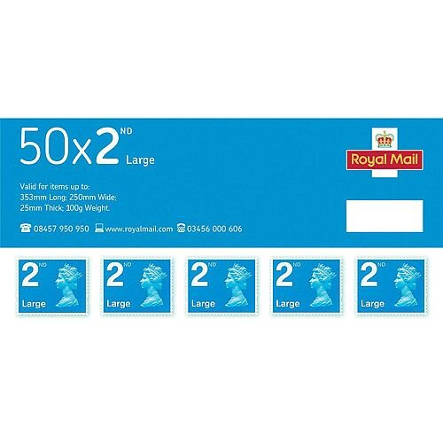 Royal Mail Second Class Large Letter Stamps [Pack of 50]