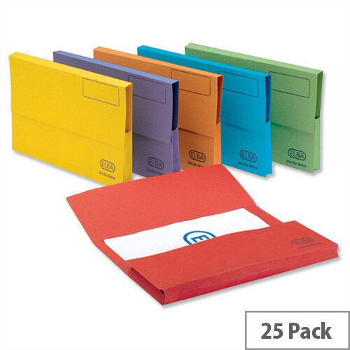 Bright Manilla Foolscap Document Wallet Assorted Pack 25 Elba