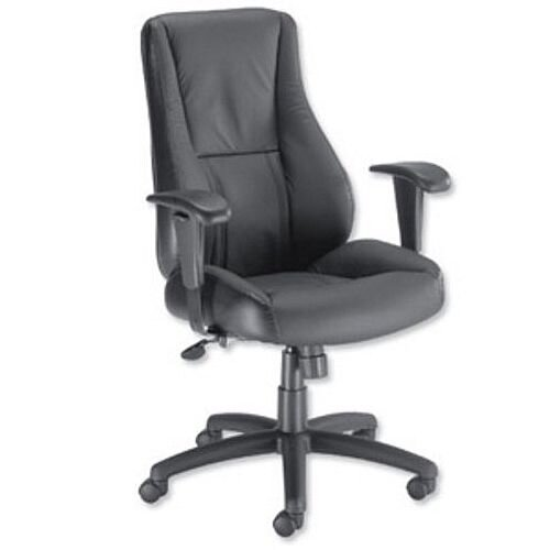 Trexus Hampshire Black Leather Manager Office Armchair With Adjustable Arms