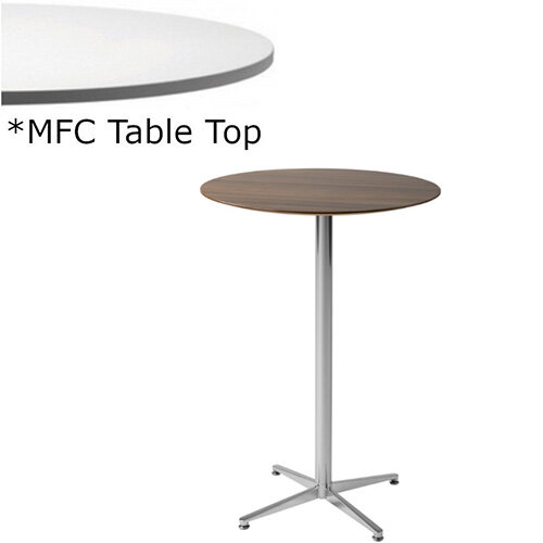 Frovi PITCH Round Canteen Poseur Table With Chrome Base &MFC Top Dia600xH1100mm - Minimalist Design MFC Melamine Surface