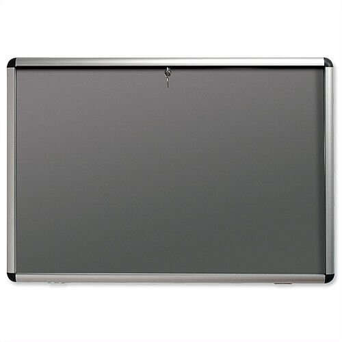 Nobo Display Cabinet A0 Noticeboard Visual Insert Lockable Grey